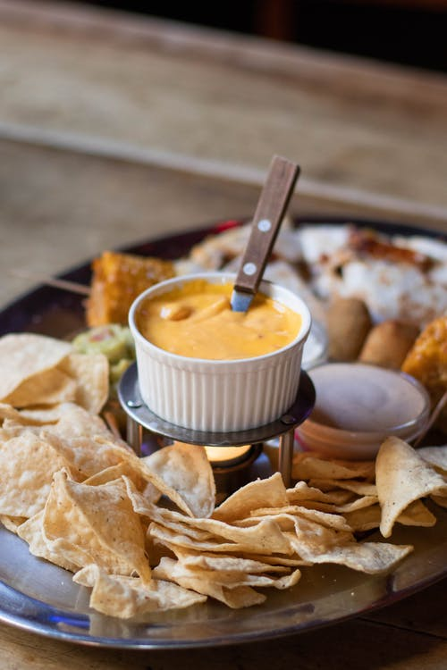 Cheese dip on a chip platter