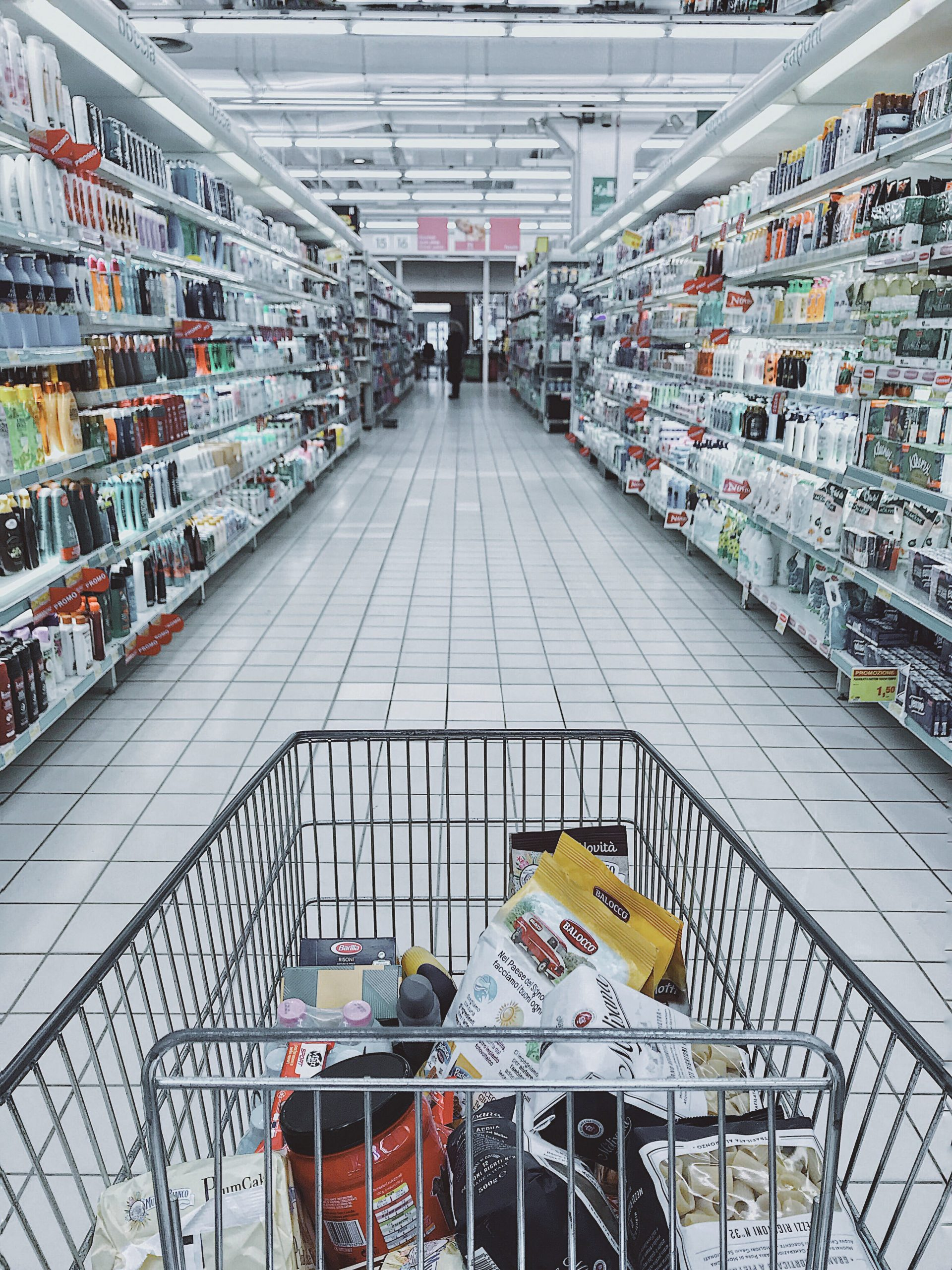 Grocery cart in store
