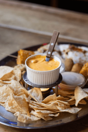 cheese sauce in a small bowl